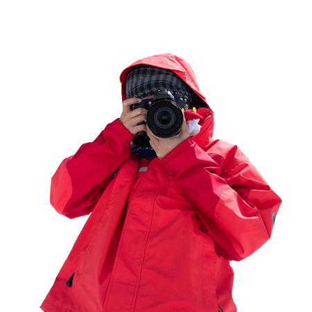 Photographer with a DSLR camera isolated on with background with clipping path for travel and photographer concept.