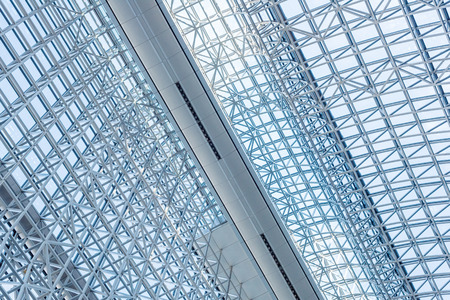 Abstract close up of modern interior architectural metal structure pattern background.