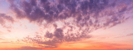 Panorama view of dramatic beautiful nature sunset sky and clouds background