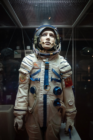MOSCOW, RUSSIA-APR10, 2018: Human in Spacesuits details on display inside of Museum of Cosmonautics on April10,2018 at Moscow,Russia. Редакционное