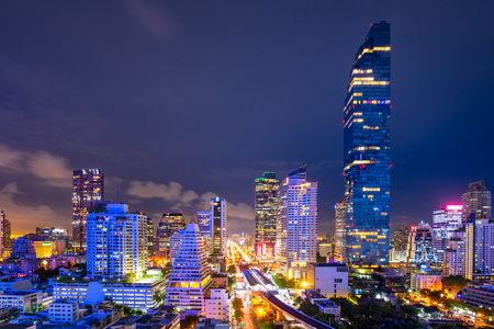 Cityscape of business center in downtown of Bangkok during rush hour time,Thailand Redakční