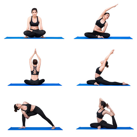 Young asian woman practice yoga pose exercise at the yoga sport gym. Yoga is a healthy form of exercise benefit is providing a good workout and overall calorie burn.