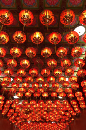 Chinese Red lanterns in china town preparation for the upcoming Chinese New Year