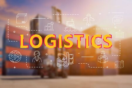 Logistic cargo container in shipping yard with Logistic outline icon for worldwide logistics and shipping business concept Stock Photo