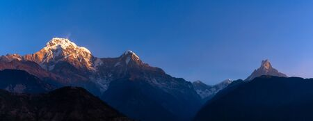 Panorama nature view of Himalayan mountain range with clear blue sky at Nepal