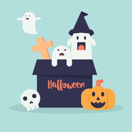 Cute halloween doodle cartoon background design for decoration for celebration halloween festival Фото со стока - 132122257