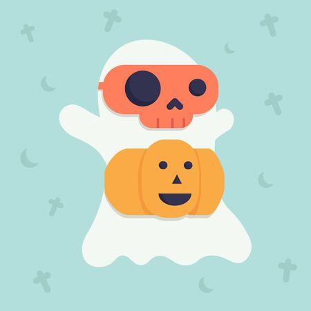 Cute halloween doodle cartoon background design for decoration for celebration halloween festival