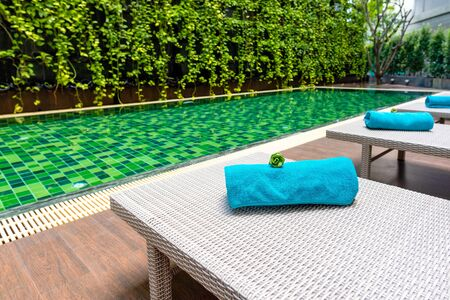 Swimming pool with little garden.Swimming is very popular sport in summer season