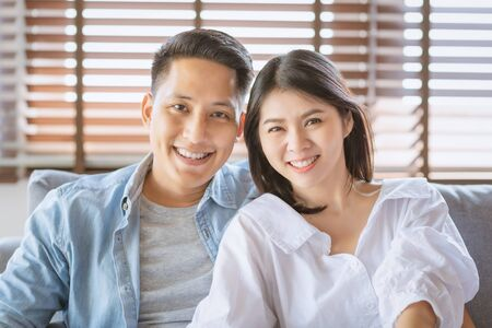 Asian couple lovers enjoy and laugh on vacation make more quality time of happiness together