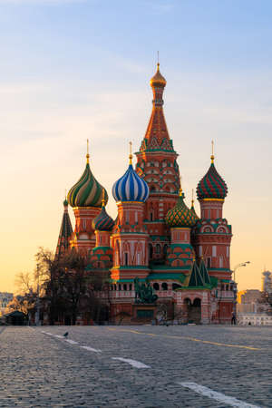 Saint Basil Cathedral at Red Square during sunrise in Moscow at Russia 版權商用圖片