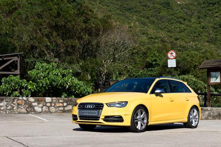 super hot: Audi S3 Sportback 2013 Model with yellow colour. super hot sport back car.
