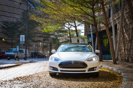 Tesla Model S Electronic Car in Hong Kong Market Editorial