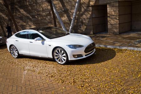 Tesla Model S Electronic Car in Hong Kong Market Editorial