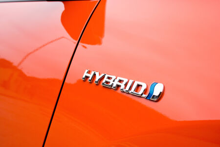 The hybrid logo found on the side of the new Toyota Prius hybrid vehicle.