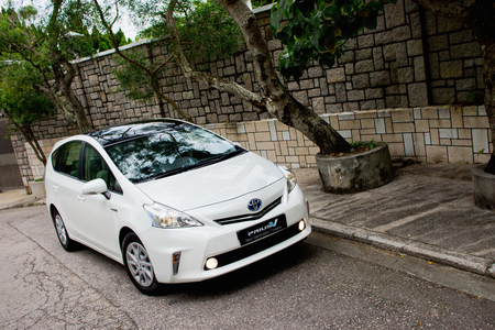 Toyota Prius V Hybrid 2012. This is big trunk hybrid car. The big size in the model line. Editorial