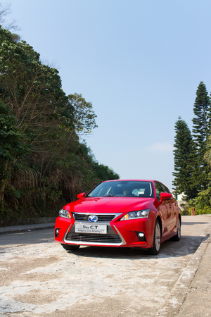 facelift: Lexus CT 200h Hybrid Car 2014, with red colour. this is facelift model.