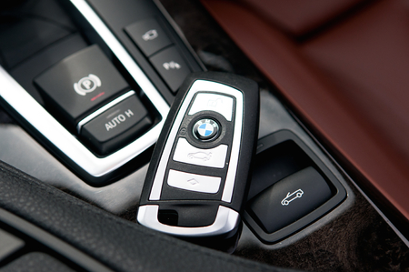 BMW keyless, the newest bmw car key  multi function, open door, open trunk door, start car  Editorial