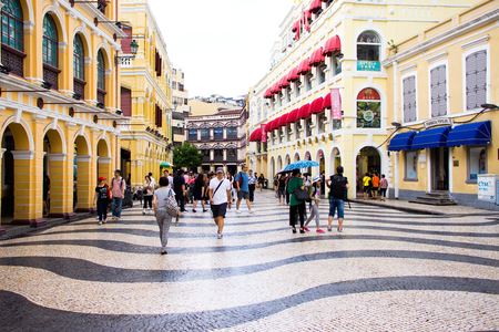 MACAU - JULY 1 2012 : Largo do Senado, Senado Square, Macau City on JULY 1 2012. Reklamní fotografie - 27851019