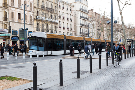 Marseille, FRANCE - MARCH 5 2013 : Modern tram RTM in the center of Marseille on MARCH 5 2013.
