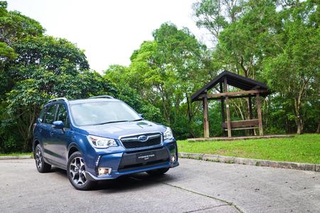 forester: Hong Kong, China May 12, 2014 : Subaru Forester 2014 Option Test Drive on May 12 2014 in Hong Kong.