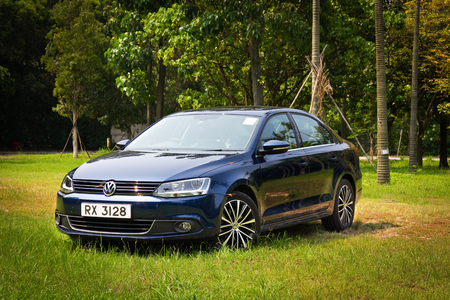 Hong Kong, China Aug 1, 2014 : Volkswagen Jetta GT 2014 test drive on Aug 1 2014 in Hong Kong.
