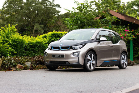 Hong Kong, China Aug 19, 2014 : BMW i3 e-drive 2014 test drive on Aug 19 2014 in Hong Kong.