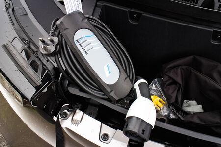 i3: Hong Kong, China Aug 19, 2014 : BMW i3 e-drive 2014 Power Cable on Aug 19 2014 in Hong Kong.