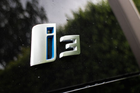 i3: Hong Kong, China Aug 19, 2014 : BMW i3 e-drive 2014 Logo on Aug 19 2014 in Hong Kong.