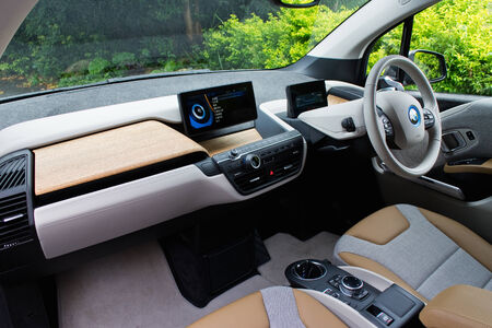 i3: Hong Kong, China Aug 19, 2014 : BMW i3 e-drive 2014 Interior on Aug 19 2014 in Hong Kong.