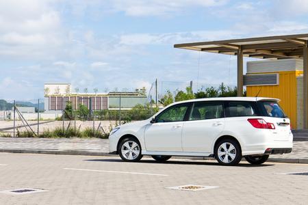 Hong Kong, China Sept 1, 2014 : Subaru Exiga STI 2014 test drive on Sept 1 2014 in Hong Kong.