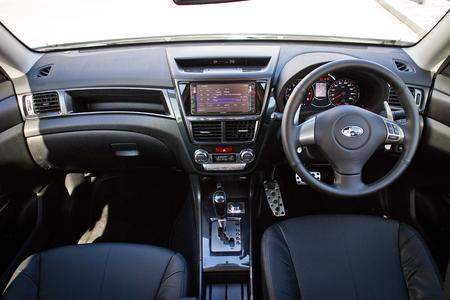 Hong Kong, China Sept 1, 2014 : Subaru Exiga STI 2014 interior drive bay on Sept 1 2014 in Hong Kong.