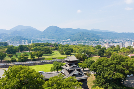 Kumamoto,Japan - May 2, 2014: Kumamoto Castle is a hilltop Japanese castle located in Chūō-ku, Kumamoto in Kumamoto Prefecture. It was a large and extremely well fortified castle. The castle keep is a concrete reconstruction built in 1960.