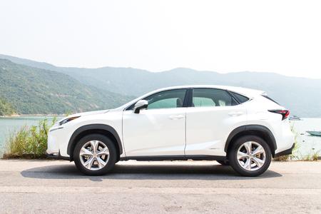 香港、中国 2014 年 10 月 8 日: レクサス NX 300 h ハイブリッド SUV 2014 は、2014 年 10 月 9 日に香港でドライブをテストします。