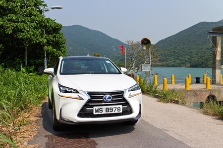 lexus auto: Hong Kong, China Oct 8, 2014 : Lexus NX 300h Hybrid SUV 2014 test drive on Oct 9 2014 in Hong Kong.