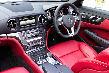 Hong Kong, China Oct 16, 2014 : Mercedes-Benz SL 400 2014 Interior test drive on Oct 16 2014 in Hong Kong.