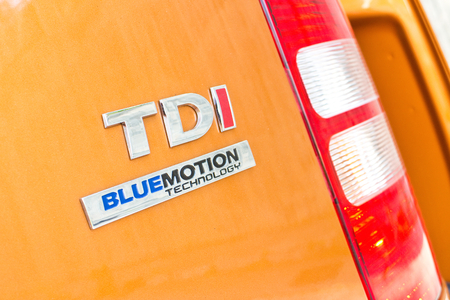 Hong Kong, China Oct 21, 2014 : Volkswagen CADDY 2014 TDI LOGO on Oct 21 2014 in Hong Kong.