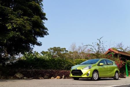 test drive: Hong Kong, China Jan 28, 2015 : Toyota Prius C 2015 Test Drive on Jan 28 2015 in Hong Kong.