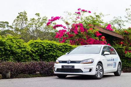 e 27: Hong Kong, China March 27 2015 : Volkswagen e-Golf 2015 Test Drive on March 27 2015 in Hong Kong. Editorial
