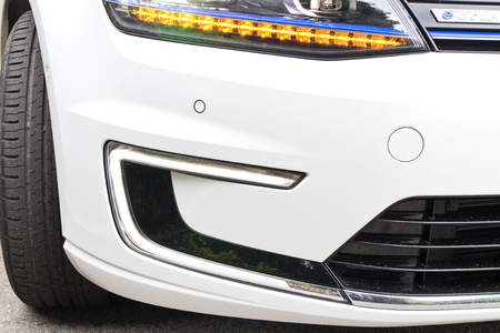 e 27: Hong Kong, China March 27 2015 : Volkswagen e-Golf 2015 LED Light on March 27 2015 in Hong Kong.