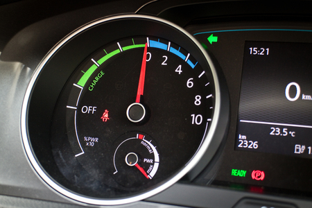 e 27: Hong Kong, China March 27 2015 : Volkswagen e-Golf 2015 Engery Dashboard on March 27 2015 in Hong Kong.