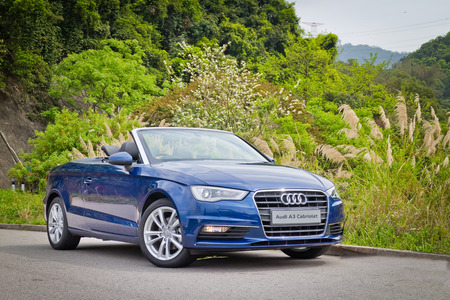 Hong Kong, China March 31 2015 : Audi A3 Convertible 2015 Test Drive on March 31 2015 in Hong Kong.