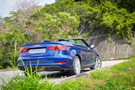 a3: Hong Kong, China March 31 2015 : Audi A3 Convertible 2015 Test Drive on March 31 2015 in Hong Kong.