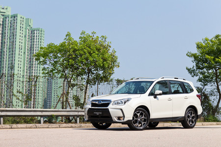forester: Hong Kong, China April 9 2015 : Subaru Forester STI 2015 Test Drive on April 9 2015 in Hong Kong.