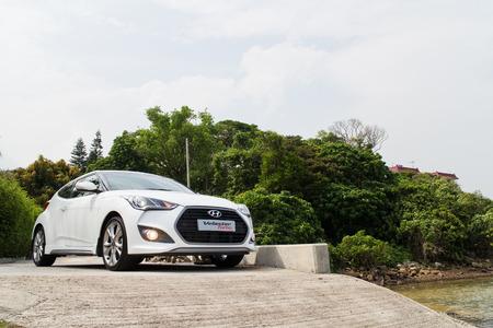 test drive: Hong Kong, China April 29 2015 : Hyundai Veloster 2015 Test Drive on April 29 2015 in Hong Kong.