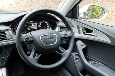 a6: Hong Kong, China May 17 2015 : Audi A6 35 TFSI 2015 Wheel on May 17 2015 in Hong Kong. Editorial