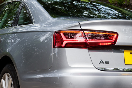 a6: Hong Kong, China May 17 2015 : Audi A6 35 TFSI 2015 Brake Light on May 17 2015 in Hong Kong.