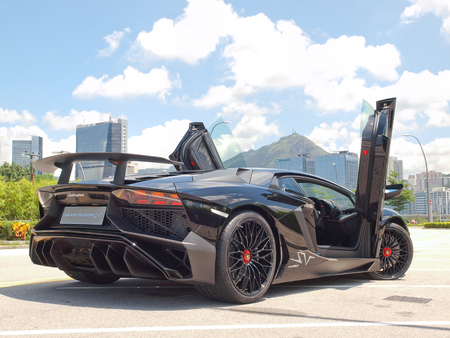 Hong Kong, China Aug 18 2015 : Lamborghini Aventador LP 750-4 Superveloce 2015 Test Drive Day on Aug 18 2015 in Hong Kong.