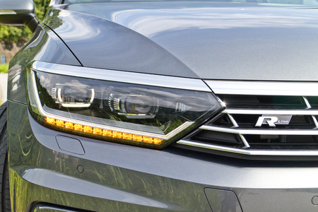 head light: Hong Kong, China Aug 4 2015 : Volkswagen Passat R-Line 2015 Head Light on Aug 4 2015 in Hong Kong.