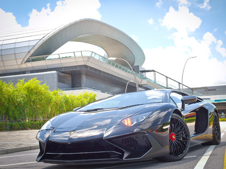 Hong Kong, China Aug 18 2015 : Lamborghini Aventador LP 750-4 Superveloce 2015 Test Drive Day on Aug 18 2015 in Hong Kong.
