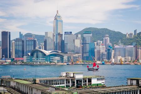 hong kong harbour: Hong Kong, China July 28 2015 : Hong Kong harbour with tourist junk on July 28 2015 in Hong Kong.